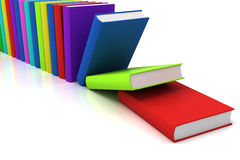 Books. Colorful books falling - 3D render Stock Images