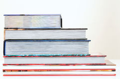 Books. Overlapped series of thick books Royalty Free Stock Photos