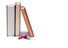 Books. With pensils isolated on wnite Royalty Free Stock Photos