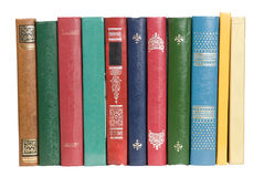 Books. Old books spines isolated on white Royalty Free Stock Photos