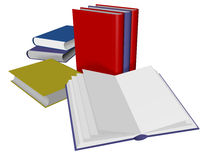 Books. 3d Render of various books. One is open Stock Photography