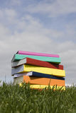 Books. A stack of colorful books on the grass stock images