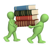 Books. 3d puppets with books - over white Stock Photos