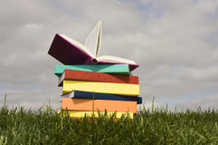 Books. A stack of colorful books on the grass royalty free stock photos