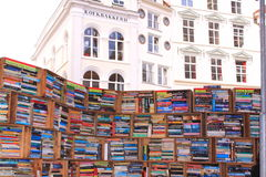 Books on bookshelfs at bookmarket Stock Photo