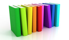 Books. Row of colorful books - 3D render Stock Images