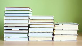 Books. Some books with green background royalty free stock images