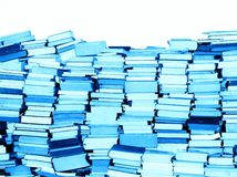 Books only. Stacked books after moving - for sale. Blue tone Royalty Free Stock Photo