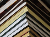 Books. Tower from books and Writing-book Royalty Free Stock Photos