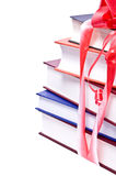 Books. Isolated books with a bow on a white background Stock Image