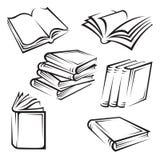 Books. Set of six monochrome illustrations of books Stock Photos
