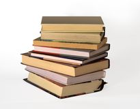 Books. Tower of books isolated on the white background royalty free stock image