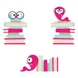 Books. Vector book stacks with an owl & bookworms Royalty Free Stock Image