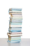 Books. Tower of old books on the table stock photo
