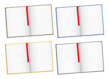 Books. Open books with bookmarks on white background Stock Photos
