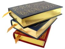 Books. A stack of leather bound hardcover books Stock Photography