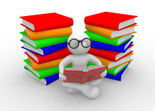 Books. 3d people - men , person and books. Education concept Royalty Free Stock Photos