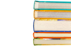 Books. Forefront of a group of books stacked with space for text Stock Images