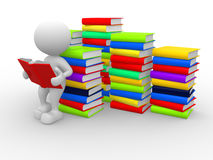 Books. 3d people - man, person reads a book, leaning back against a pile of books Stock Images