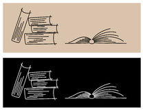 Books. Illustration of books from lines - light and dark Stock Photo