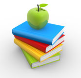 Books. 3d  pile of books with an apple on top. 3d render Royalty Free Stock Images