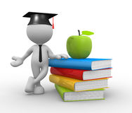 Books. 3d people - man, person with pile of books and an apple.  Graduation cap Stock Photography