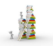 Books. 3d people - man, person and stack of books. Aspiration to knowledge Stock Photography