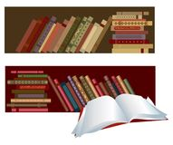 Books. In the shelves, one book open Vector Illustration