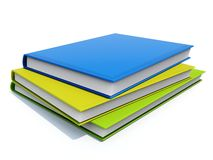 Books. Blue, green and yellow book isolated on white Stock Images