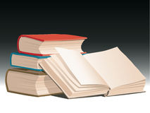 Books. Vector illustration of pile of books with one open book