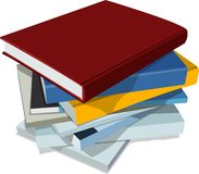 Books. Collection books and notebooks on white background Royalty Free Stock Photos