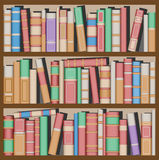 Books. Lots of Books on Bookshelves Stock Photo
