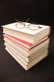 Books. Stack of books with glasses Stock Photography