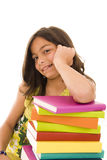 Books. Happy young girl with colorful books royalty free stock images