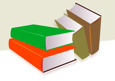 Group of untitled books. Illustration in 3D of a group of four thick untitled books,  two in shades of green, one in orange and one in brown, white and cream Royalty Free Stock Photos
