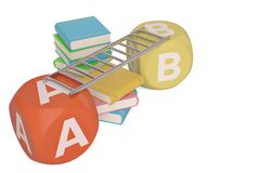 Books with abc cubes on white background.3D illustration. Books with abc cubes on white background. 3D illustration royalty free illustration