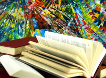 Books and abstract colorful background Royalty Free Stock Photography