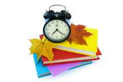Books and alarm clock Royalty Free Stock Photography