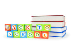 Books and alphabet blocks Royalty Free Stock Photo