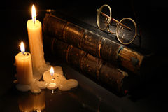 Books And Candles Stock Images