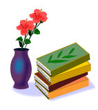 Books And Hibiscus Royalty Free Stock Photo