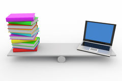 Books And Laptop On Scales Stock Photos