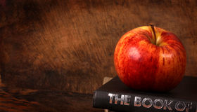 Books and apple. Close up of red apple and Books royalty free stock image