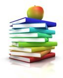 Books and apple. Colorful stack of books with an apple on top - 3d illustration/rendering Royalty Free Stock Images