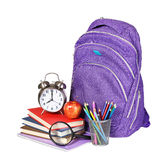 Books, apple, backpack, alarm clock and pencils isolated Stock Images
