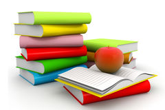 Books with apple. 3d illustration of Books with apple on isolated background Stock Image