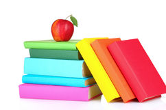 Books and apple isolated Stock Image