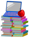 Books apple laptop computer Stock Image