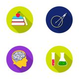 Books, an apple, a man s head with a brain, test tubes with a reagent, a compass with a circle. School set collection Royalty Free Stock Photo