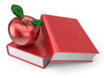 Books and apple red back to school book education. Books and apple back to school book education health reading textbook concept. 3d render  on white Royalty Free Stock Photo